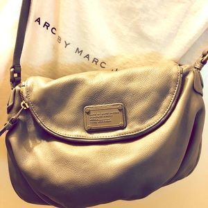 Marc Jacobs gray leather crossbody bag, Authentic